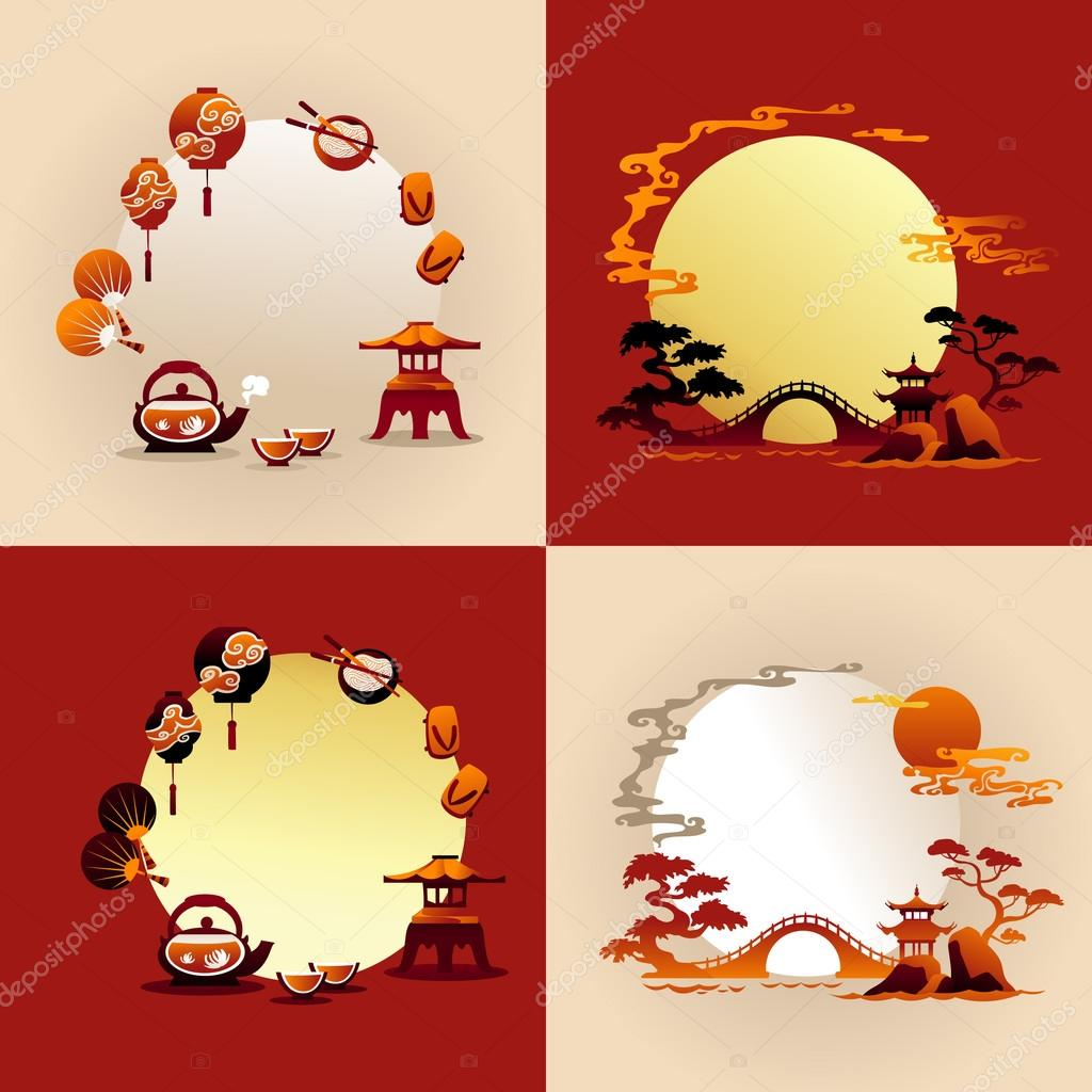 Set of Abstract Chines backgrounds - Vector illustrations