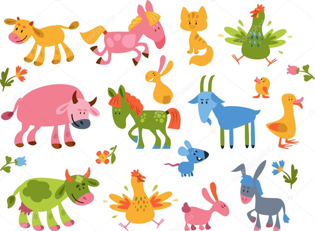 Collection of farm animals and bird. Simple vector illustration.