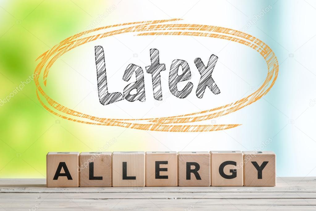 Allergie au latex signe avec du texte dans un cercle de croquis ...