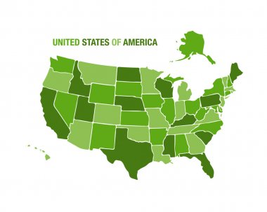 USA map illustration in green color