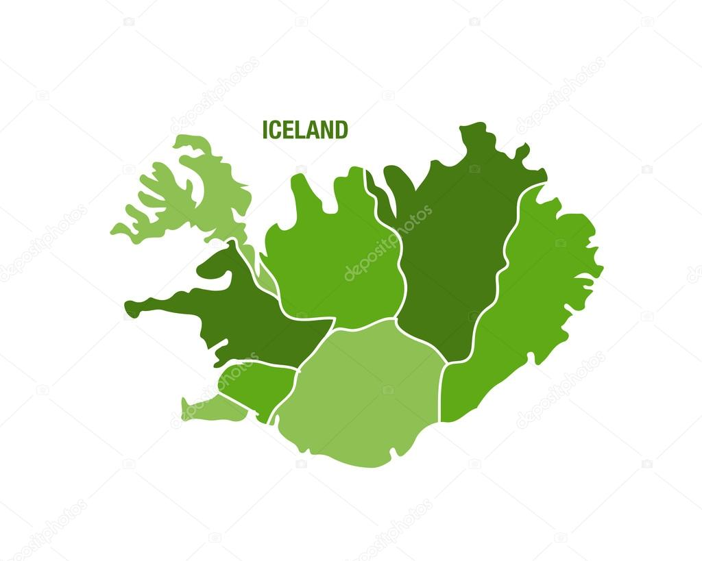 Iceland map with regions — Stock Vector © Sportactive #68863143
