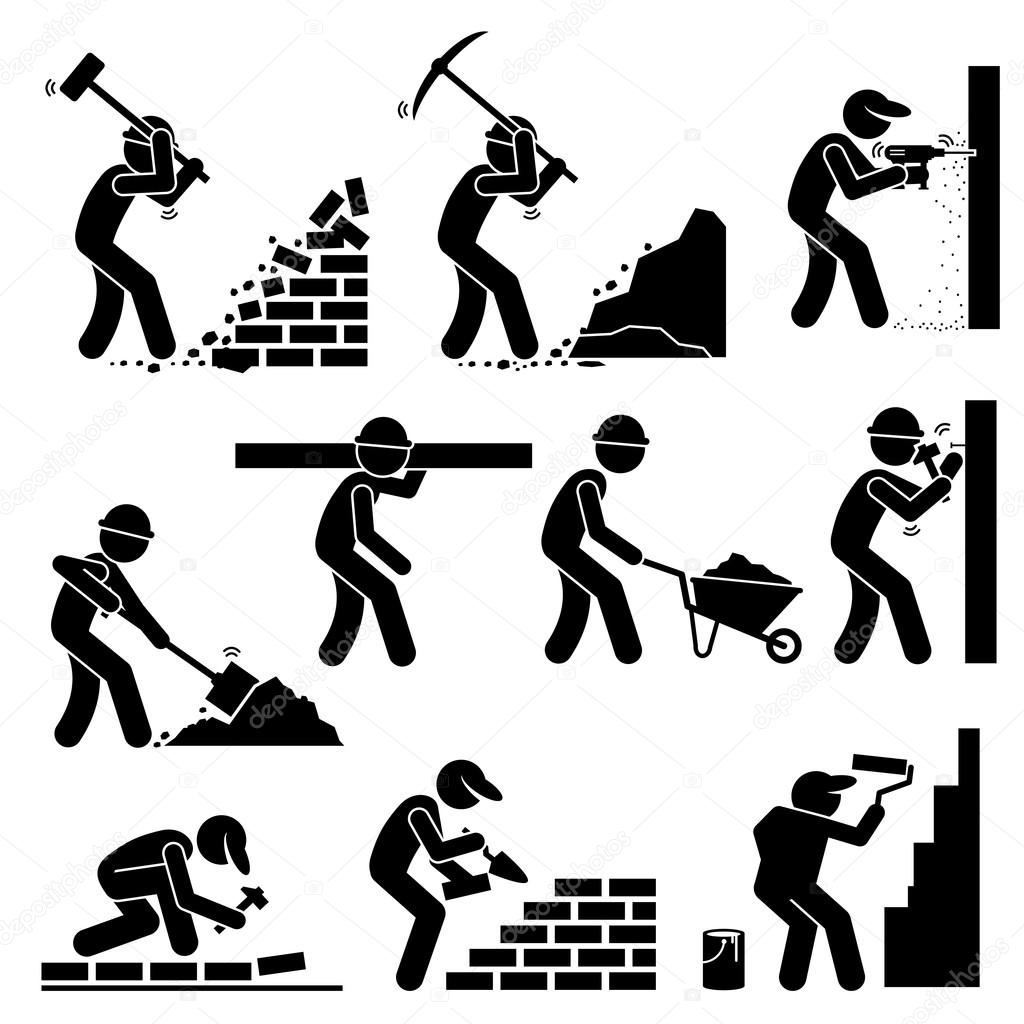 Builders Constructors Workers Building Houses with Tools ...