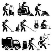 Fotografie Industriereinigung-Worker mit Werkzeugen und Ausrüstung Strichmännchen Piktogramme Symbole