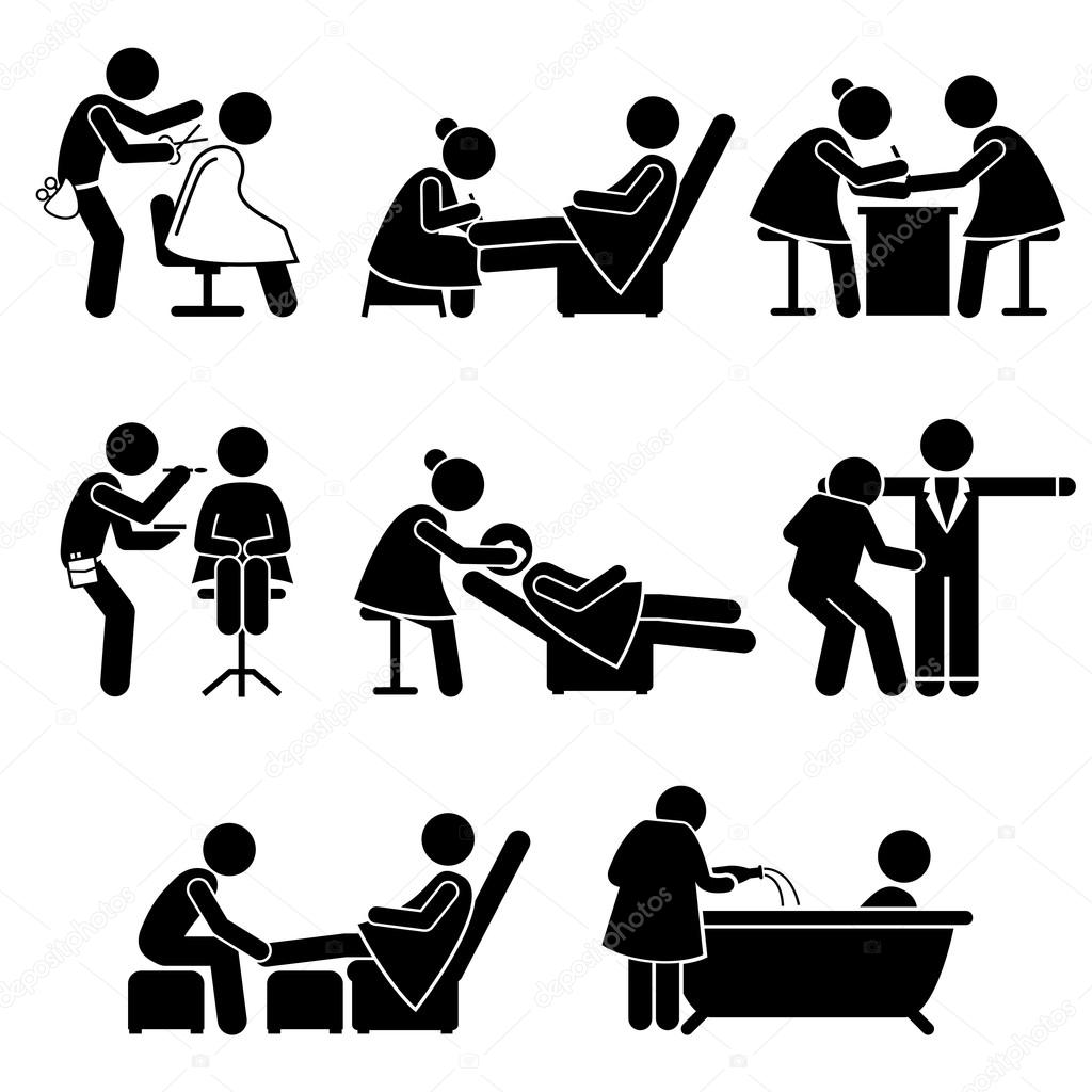 beauty salon makeup artist spa services job stick figure pictogram icons stock vector leremy. Black Bedroom Furniture Sets. Home Design Ideas