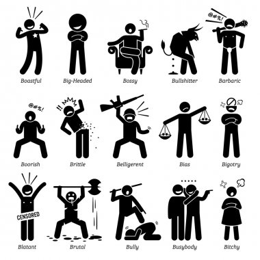 Negative Personalities Character Traits. Stick Figures Man Icons. Starting with the Alphabet B.