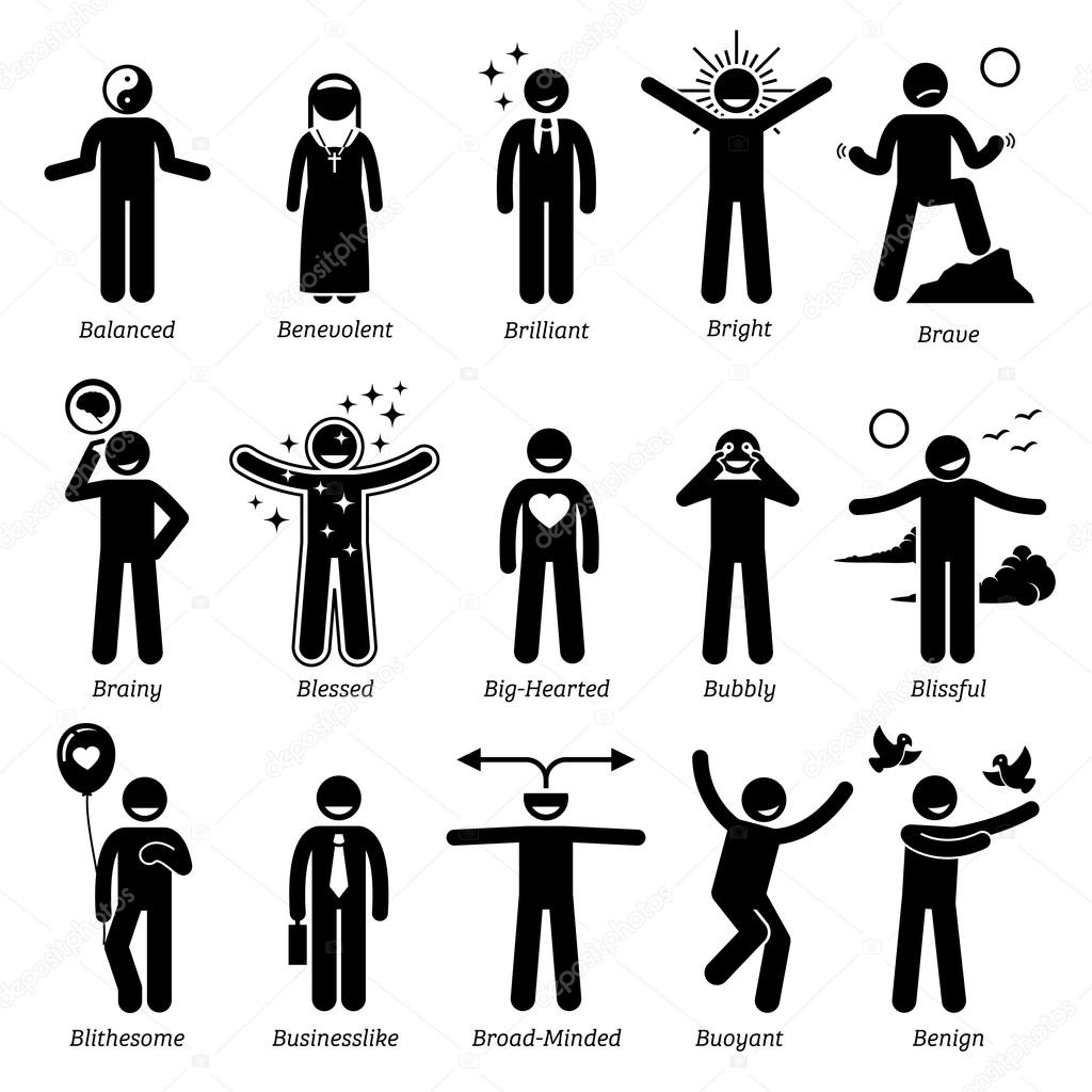 Positive Personalities Character Traits. Stick Figures Man Icons. Starting  With The Alphabet B.  Positive Character Traits