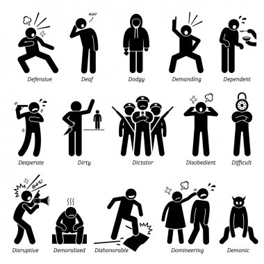 Negative Personalities Character Traits. Stick Figures Man Icons. Starting with the Alphabet D.