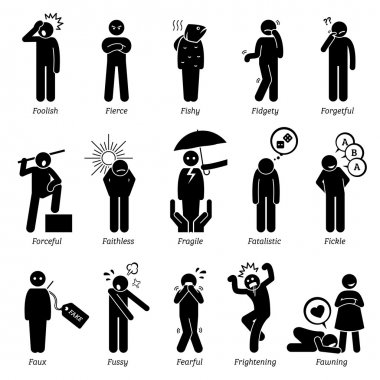 Negative Personalities Character Traits. Stick Figures Man Icons. Starting with the Alphabet F.
