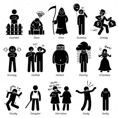 Negative Personalities Character Traits. Stick Figures Man Icons. Starting with the Alphabet G.