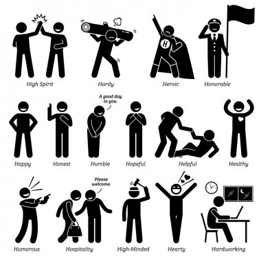 Positive Personalities Character Traits. Stick Figures Man Icons. Starting with the Alphabet H.