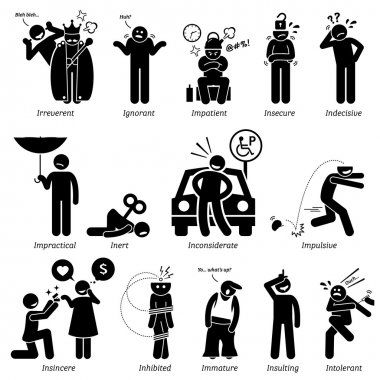 Negative personalities traits, attitude, and characteristic. Irreverent, ignorant, impatient, insecure, indecisive, impractical, inert, inconsiderate, impulsive, insincere, inhibited, immature, insulting, and intolerant. stock vector