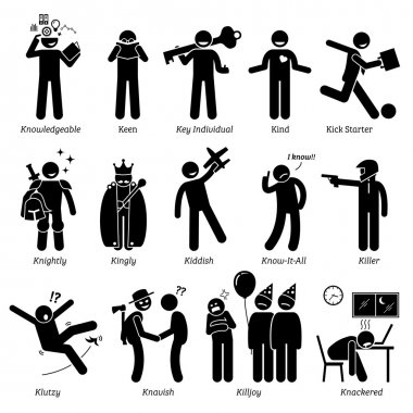 Positive Negative Neutral Personalities Character Traits. Stick Figures Man Icons. Starting with the Alphabet K.