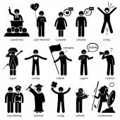 Photo Positive Personalities Character Traits. Stick Figures Man Icons. Starting with the Alphabet L.