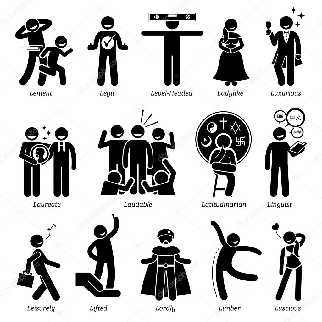 Positive Personalities Character Traits. Stick Figures Man Icons. Starting  With The Alphabet L.  Positive Character Traits