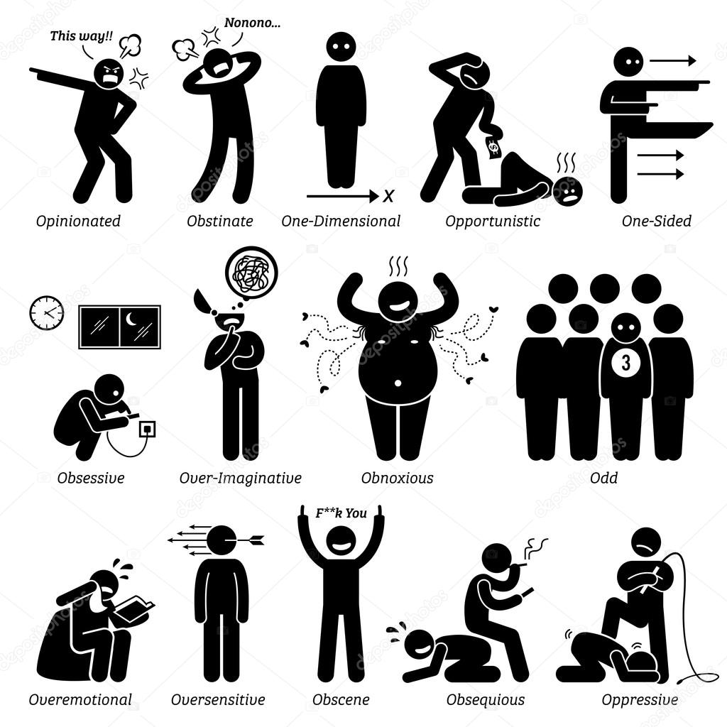 Negative Personalities Character Traits. Stick Figures Man Icons. Starting with the Alphabet O.