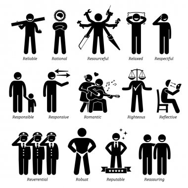 Positive Personalities Character Traits. Stick Figures Man Icons. Starting with the Alphabet R.