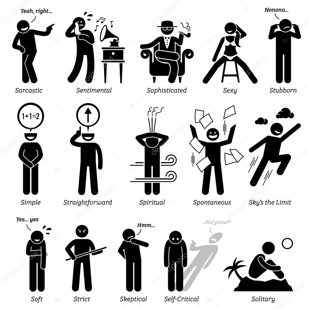 traits de caract re de personnalit s neutres stick figures homme ic nes partir de l alphabet. Black Bedroom Furniture Sets. Home Design Ideas