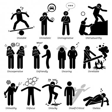 Negative Personalities Character Traits. Stick Figures Man Icons. Starting with the Alphabet U.
