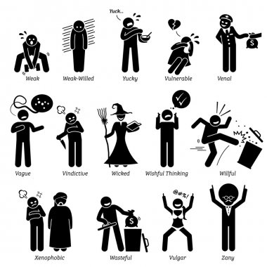 Negative Personalities Character Traits. Stick Figures Man Icons. Starting with the Alphabet V, W, X, Y, and Z.