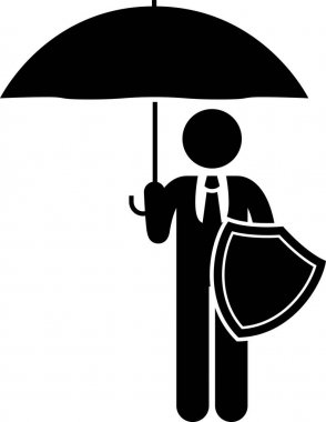 Life Insurance Protection. Stick figures depict life insurance protection for premature death, critical illness, permanent disabilities, medical, hospital, accident, traveling, and saving plans.