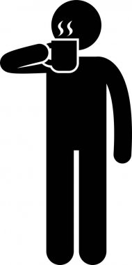 Man People Eating Tasting Food and Drink Stick Figure Pictogram Icon icon