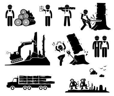 Timber Logging Worker Deforestation Stick Figure Pictogram Icons