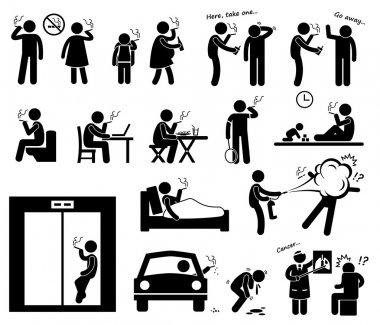 Smokers Smoking Stick Figure Pictogram Icons