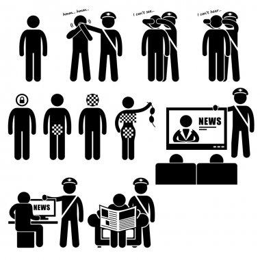 Censor Censorhip Government Media Restrictions Stick Figure Pictogram Icon
