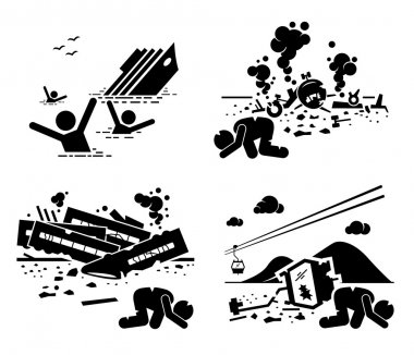 Disaster Accident Tragedy of Sinking Ship, Airplane Crash, Train Wreck, and Falling Cable Car Stick Figure Pictogram Icons