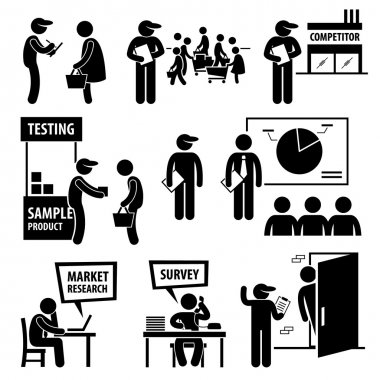 A set of human pictogram representing company staff doing surveys and market analysis on the public and competitors. stock vector