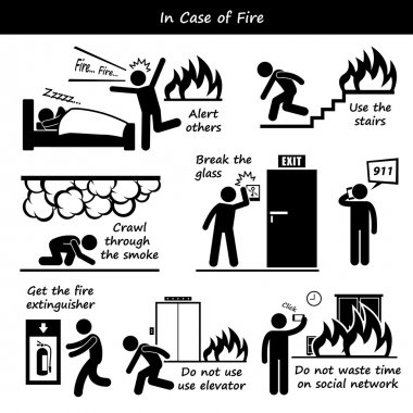 In Case of Fire Emergency Plan Stick Figure Pictogram Icons