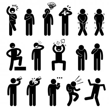 Human Action Poses Postures Stick Figure Pictogram Icons