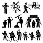 Teroristů terorismus sebevražedný atentátník panáček piktogram ikony