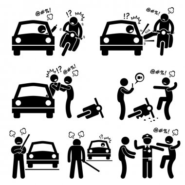 Road Bully Driver Rage Stick Figure Pictogram Icons
