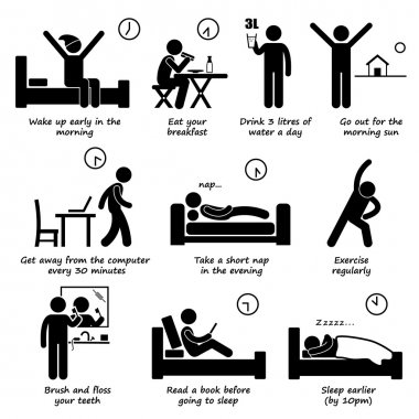 Healthy Lifestyles Daily Routine Tips Stick Figure Pictogram Icons