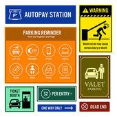 Fényképek Parkoló emlékeztető és információs jelek jelzőtáblákat