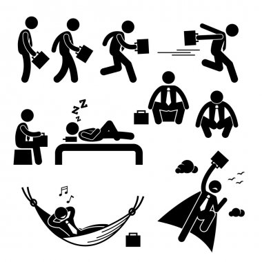 Businessman Business Man Walking Running Sleeping Flying Stick Figure Pictogram Icon