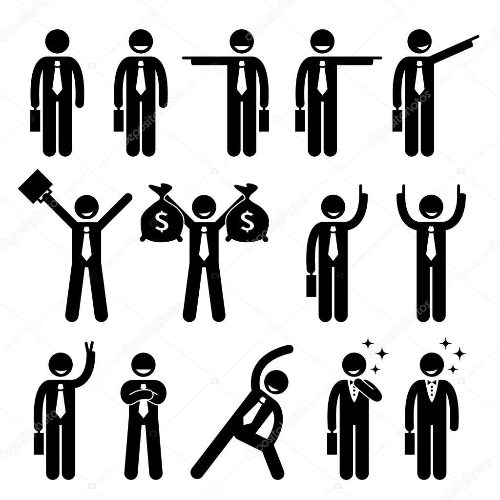 Businessman Business Man Happy Action Poses Stick Figure Pictogram Icon