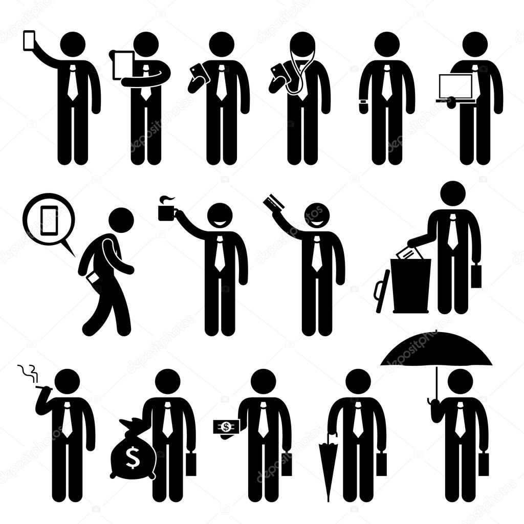 Business man businessman holding various objects stick figure a set of human pictogram representing a businessman with a phone tablet phone earphone smart watch laptop phone in the pocket coffee credit card magicingreecefo Gallery