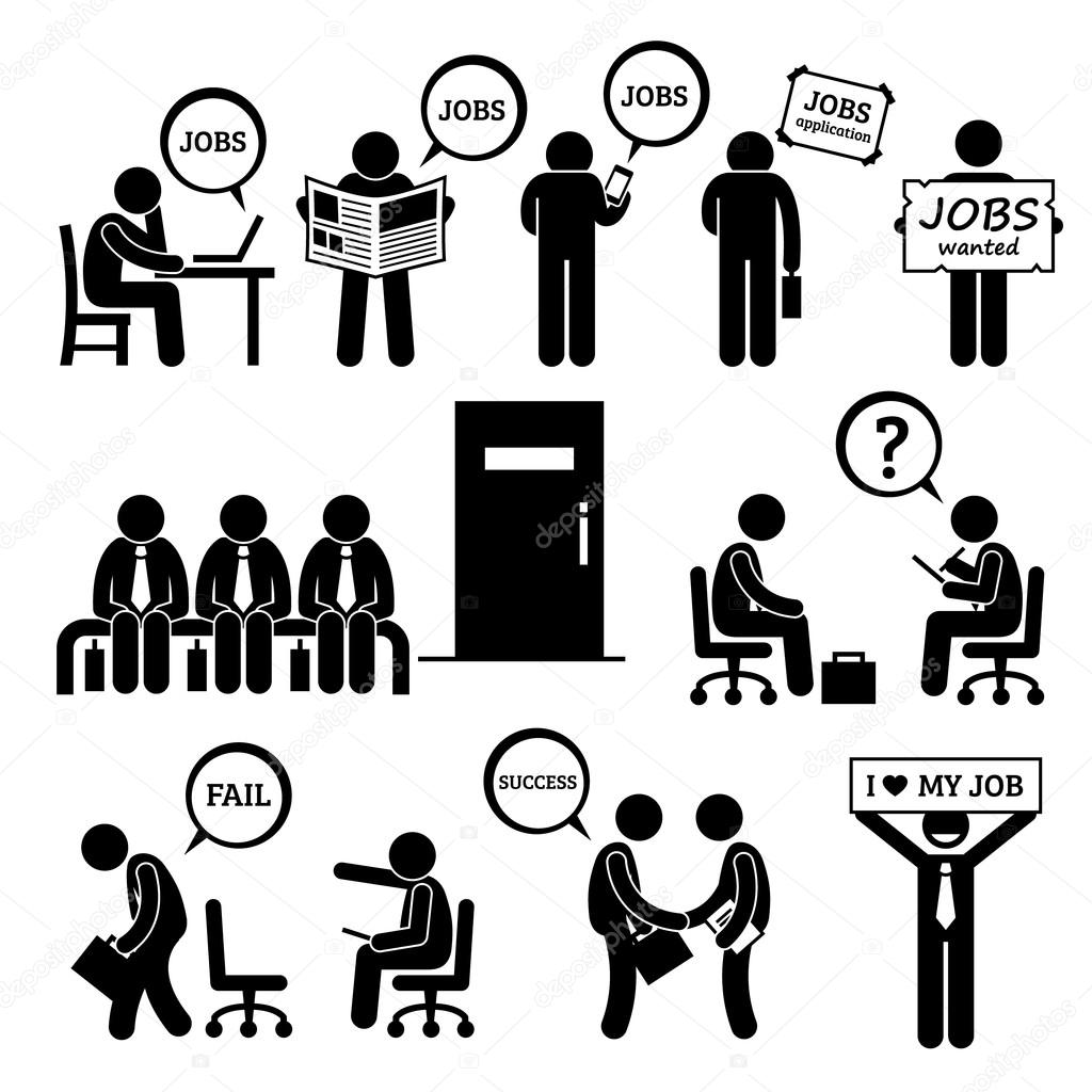 Searching And Finding Jobs And Attending Interviews At The Office He Is Trying To Get Employment At Business Workplace Vector By Leremy