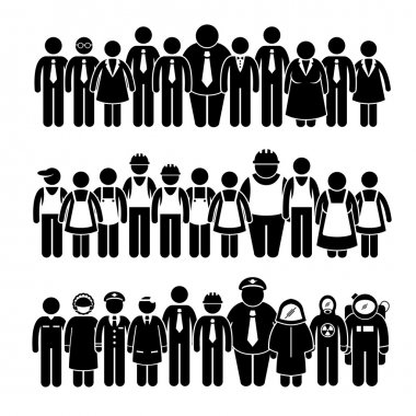 Group of People Worker from Different Profession Stick Figure Pictogram Icons