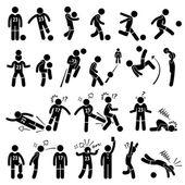 Fußball-Fußballer Fußballer Aktionen Poses Stick Figur Piktogramm Icons