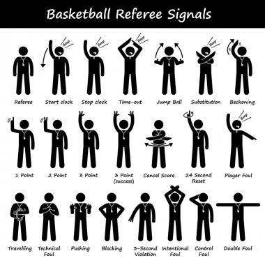 Basketball Referees Officials Hand Signals Stick Figure Pictogram Icons