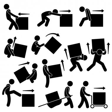 A set of human pictogram representing methods and ways for a man to move a big box. This include many postures and poses such as pull, push, drag, lift, rollover, kick, and moving it with stretcher and cart. stock vector