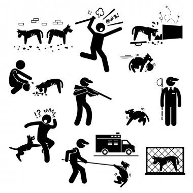 A set of human pictogram representing stray dog problem and how human tackle with it. These pictograms show hungry dogs finding and eating food from trash and garbage. Authority is trying to kill and catch these stray dogs. stock vector