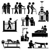 Fotografie Physio Physiotherapy and Rehabilitation Treatment Stick Figure Pictogram Icons