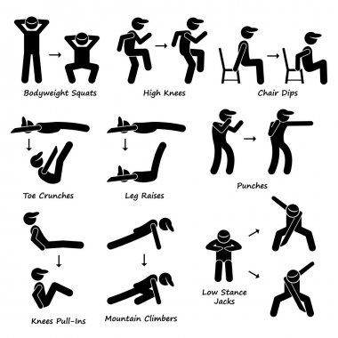 Body Workout Exercise Fitness Training (Set 2) Stick Figure Pictogram Icons