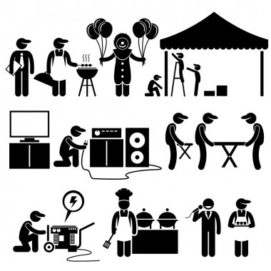 Celebration Party Festival Event Services Stick Figure Pictogram Icons