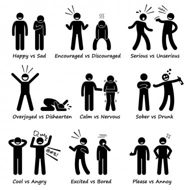 Opposite Feeling Emotions Positive vs Negative Actions Stick Figure Pictogram Icons