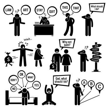 Human pictogram stick figures showing a man having a hard time deciding on what to choose and do because these decisions are his junction of life. stock vector